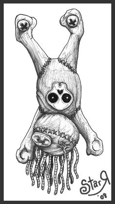 Voodoo Doll/ Witchdoctor with shrunken head! Drawing