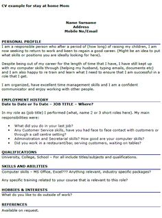 Resume Examples For Returning To Work Mom