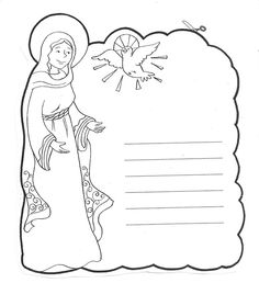 I created my own Hail Mary Coloring page for young