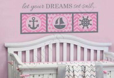 Girls Nautical Crib Bedding