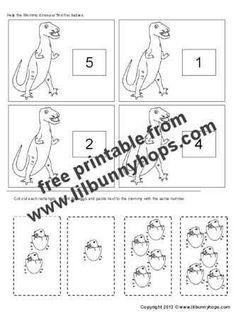 Kindergarten Dinosaur Math Worksheet Printable