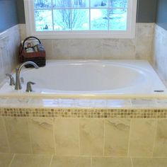 Drop In Tub With Gray Tile Our Work Pinterest Large