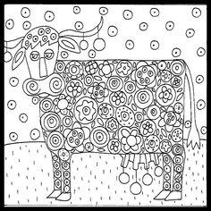 Maternelle: Coloriage magique, une vache heureuse