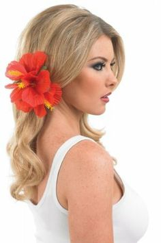 la s hawaiian hula girl flower hair clip fancy dress accessory costume outfit red