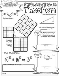 Pythagorean theorem, Worksheets and Definitions on Pinterest