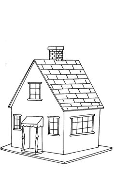 House Coloring Page cut out shapes for windows/door etc