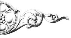 Vector vintage baroque engraving floral scroll filigree