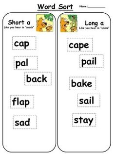 Short i/Long i Word sortThis literacy center activity