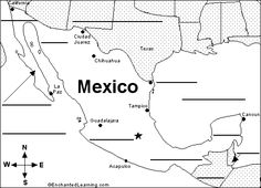 Map of Mexico with major cities and other surronding areas