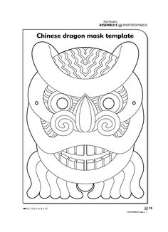 FREE Chinese New Year dragon mask color page. Print on