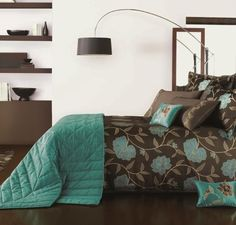 Teal Brown And Gold Bedroom