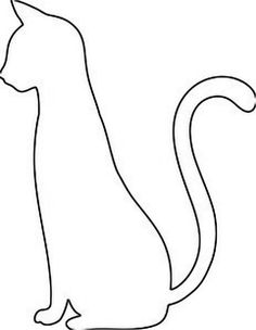 Sitting cat pattern. Use the printable outline for crafts