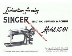 Singer 257 Fashion Mate Zig-Zag Sewing Machine Instruction