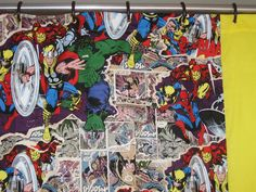 Comic Book Booom! Shower Curtain Bathroom Ideas Superhero