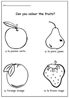 French Worksheet Kids Learning Sheet by YippeeLearning on