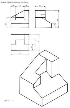 Isometric drawing problem set with solutions. http://me113
