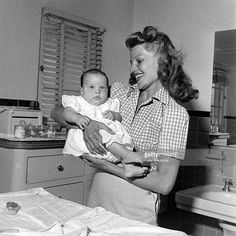 Rita Hayworth and her two daughters Yasmin Khan and