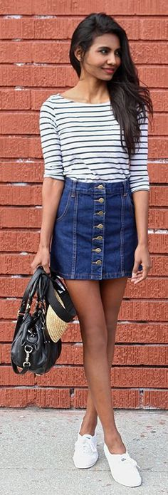 Denim Button Skirt Streetstyle by Tuolomee