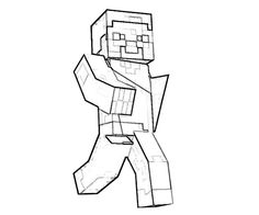 Minecraft coloring page with a picture of Steve to color