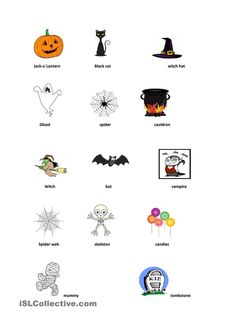 Printable Halloween Game Cards for Pictionary, Charades