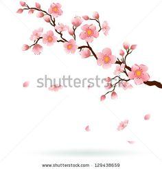 Cherry Blossoms Falling Stylized Wallpaper Forget Me Not Flower Drawings Me Not Flower Drawing