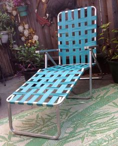 webbed chaise lounge chairs stool ladder chair bet you didn't think could fix one of these old-style aluminum patio with new webbing ...