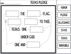 Back-to-School Pledge of Allegiance Cut and Paste for