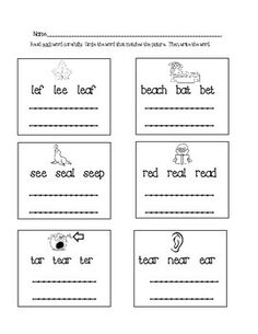 Word Sort for ay, ai, ee, and ea Foldable or Trifold