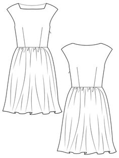 Dress with Gathered Rectangle Skirt and Cap Sleeves 02