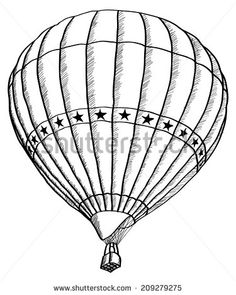 Hot Air Balloon Vector Sketch Up line, EPS 10. On the