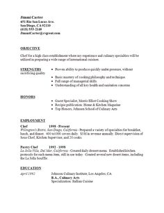 Culinary Resume Examples