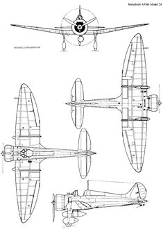 Artwork Nakajima Ki 84 Hayate KO technical drawing 1 48