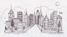 Futuristic Cityscape by Maeve Perspective class, 3 point