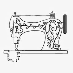 Sewing machine pattern. Use the printable outline for