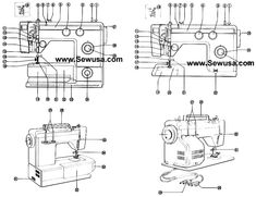 Necchi 536 FB 537 FA Sewing Machine Threading Diagram
