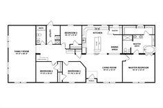 Quadruple Wide Mobile Home Floor Plans, 5 bedroom, 3