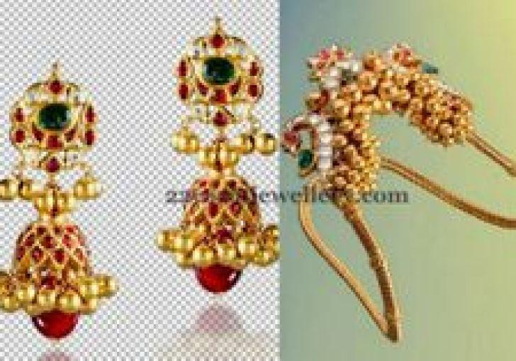 Steps Jhumkas With Stones Jewellery Designs