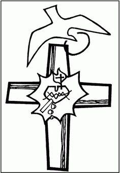 Cruz del Apostolado en pupila. Técnica: linograbado Autora