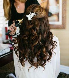 long brown curly hairstyle half up half down wedding hair bride bridesmaids broach bling curls