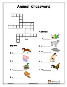 Crossword puzzle templates for Preschool through Grade 3