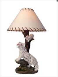 """""""Illuminated Tiger"""" - White Tiger Table Lamp This white ..."""