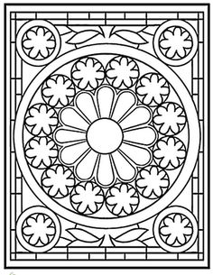 rose window pattern. coloring page or cutting template