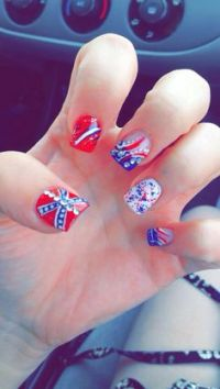 Rebel nails, redneck nails, country girl, southern pride ...