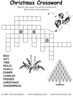 Printable Christmas puzzle: this one is a crossword that