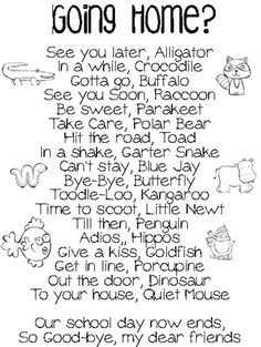 cute ways to say goodbye and they rhyme! New ones I haven