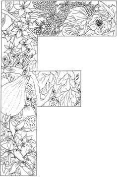 Letter J coloring page from English Alphabet with Plants