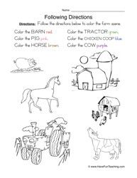 Find it... Color it: Following Directions Worksheet