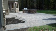 stairs and landing - stamped concrete