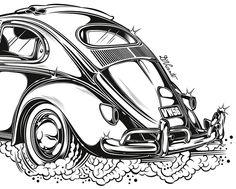 Volkswagen Beetle Original Car Drawing Instant by