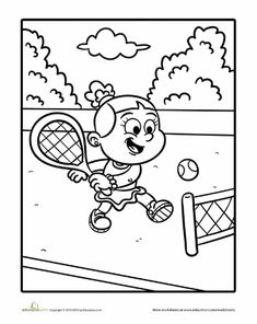 Tennis sport coloring page for kids, printable free